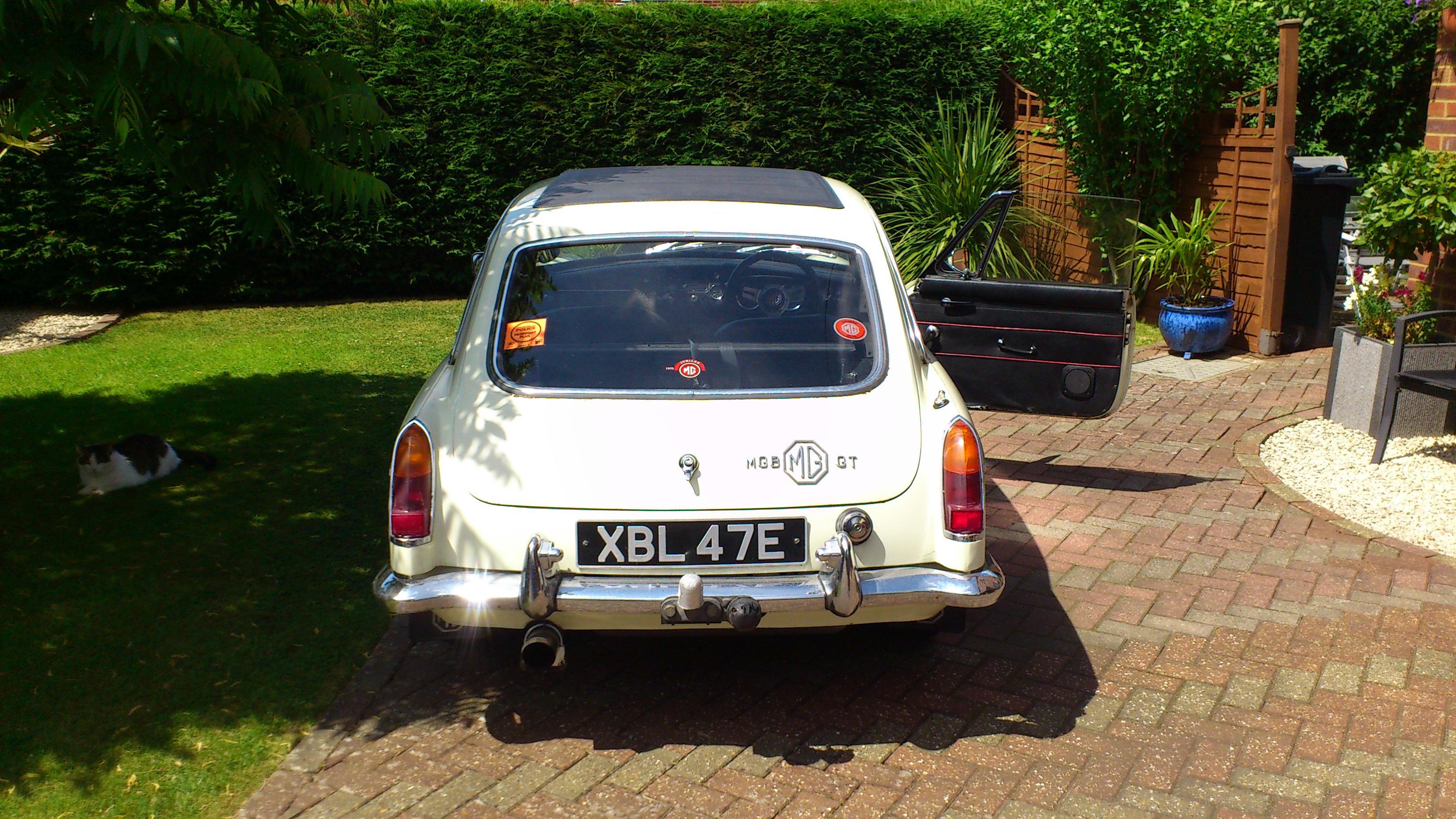 MGB GT 1967 White Rear